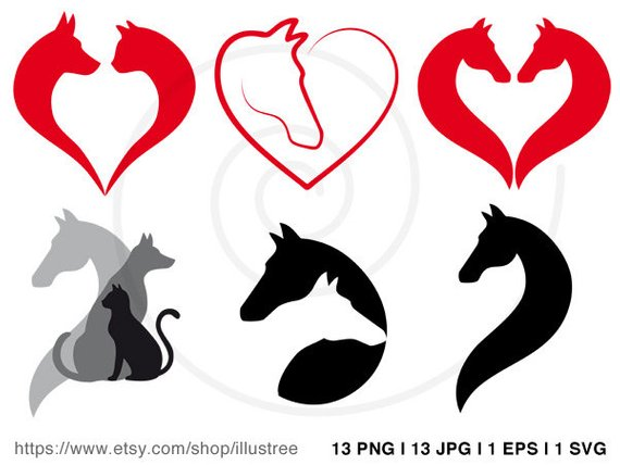 570x428 Horse, Cat And Dog Clip Art Set, Animal Digital Clipart, Pet Icons
