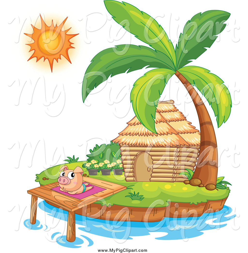 1024x1044 Swine Clipart Of A Pig Sun Bathing By A Bungalow Hut On An Island