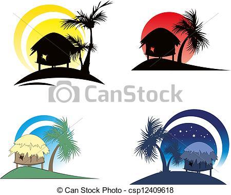 450x379 Tropical Hut Silhouette Clipart