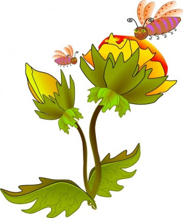 357x425 Free Download Of Bee And Flower Clip Art Vector Graphic