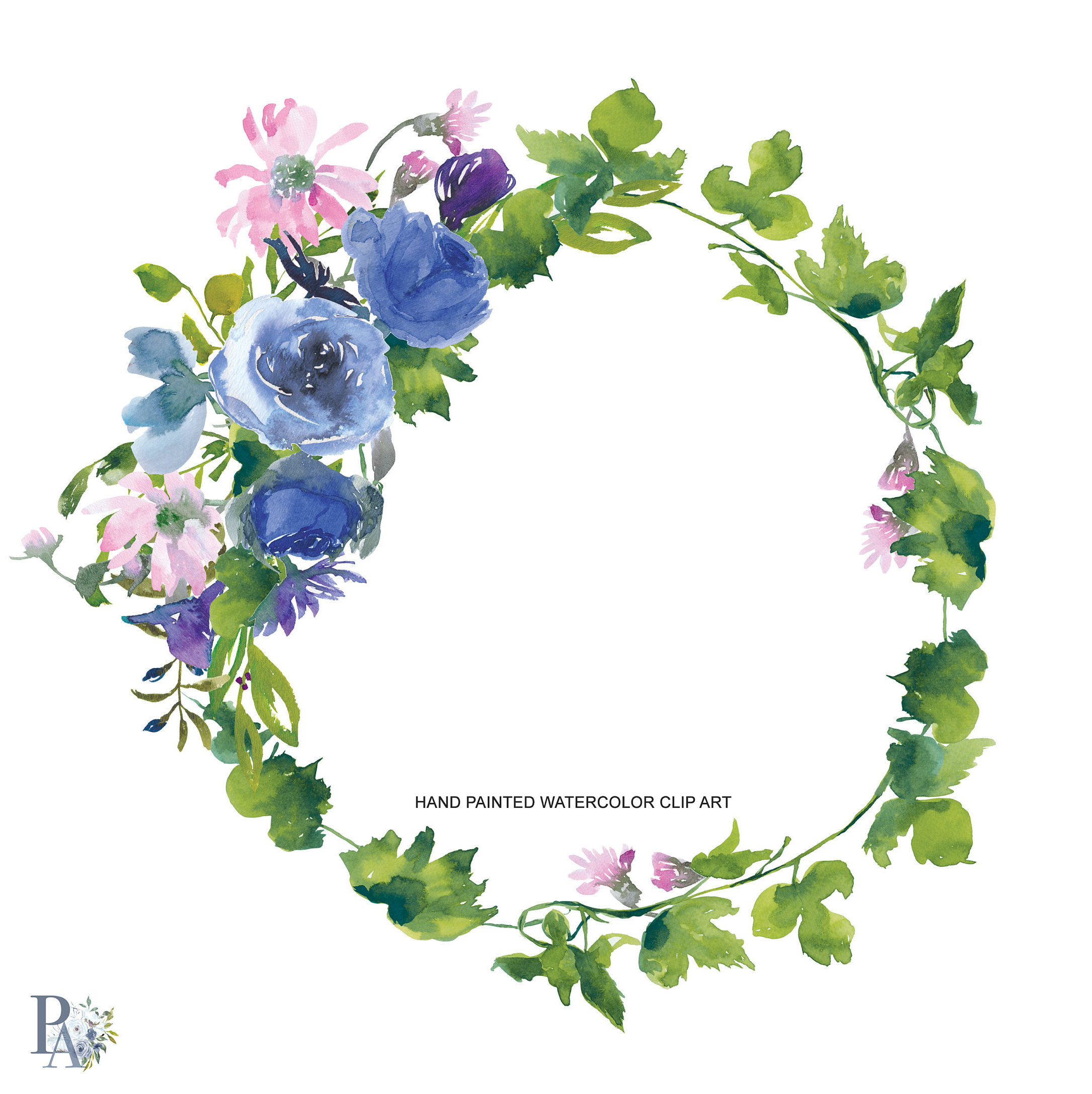 2172x2176 Watercolor Sapphire And Pink Wreath Clipart Hand Painted Wreath