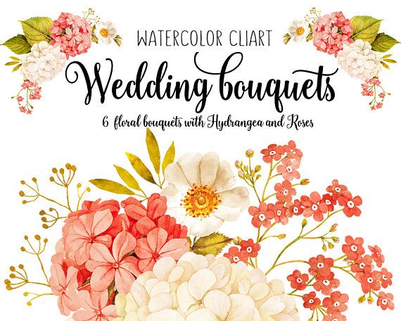 570x456 Watercolour Floral Clipart, Wedding Clipart, Hydrangea, Png