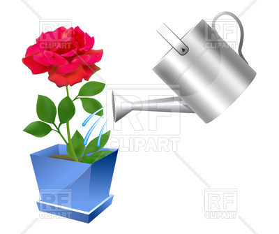 400x335 Watering Can With Rose Royalty Free Vector Clip Art Image