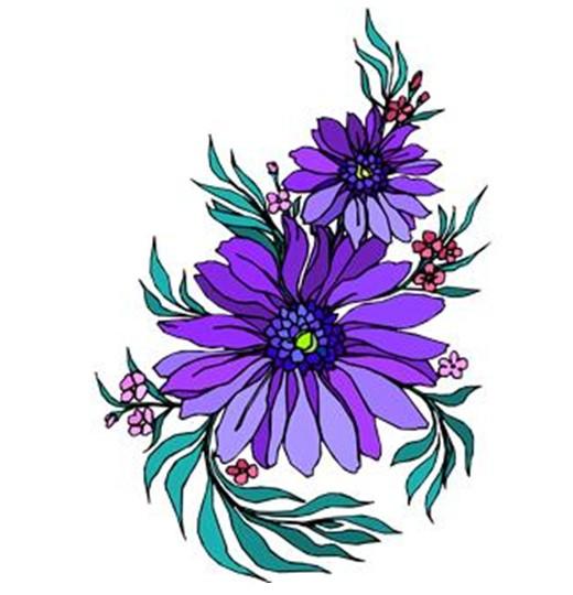520x540 Zinnea Clipart Flower Cluster