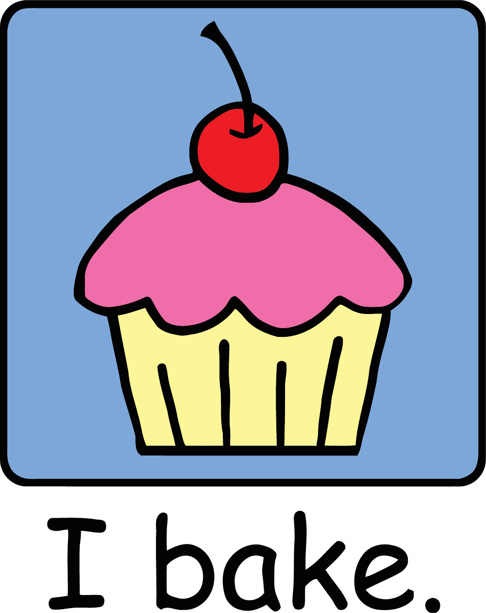 1001x1261 Cartoon Clip Art Dessert Pink Frosting Photo I Bake Text Cupcake