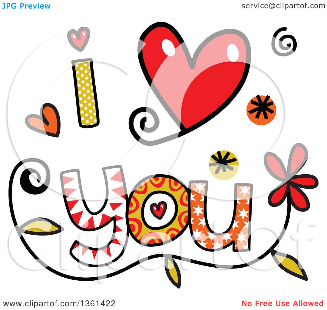 1080x1024 Clipart Of Colorful Sketched I Love You Word Art