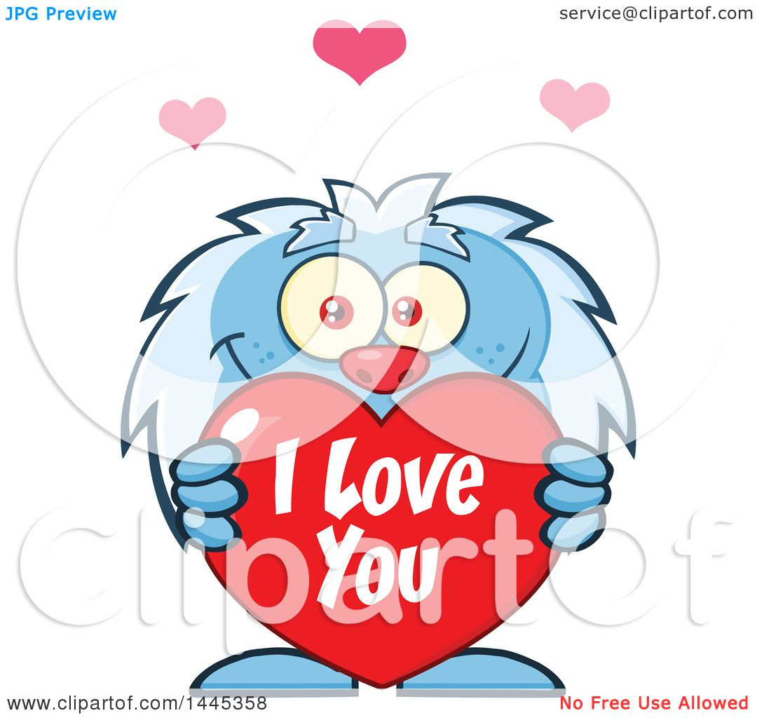 1080x1024 Clipart Of A Cartoon Valentine Yeti Holding A Red I Love You Heart