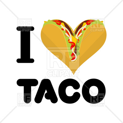 400x400 I Love Taco On White Royalty Free Vector Clip Art Image