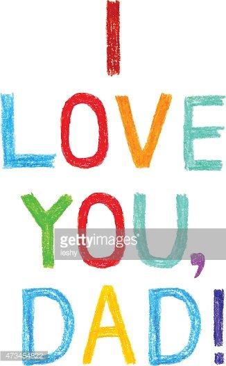 326x528 Phrase I Love You, Dad Child Writing Premium Clipart