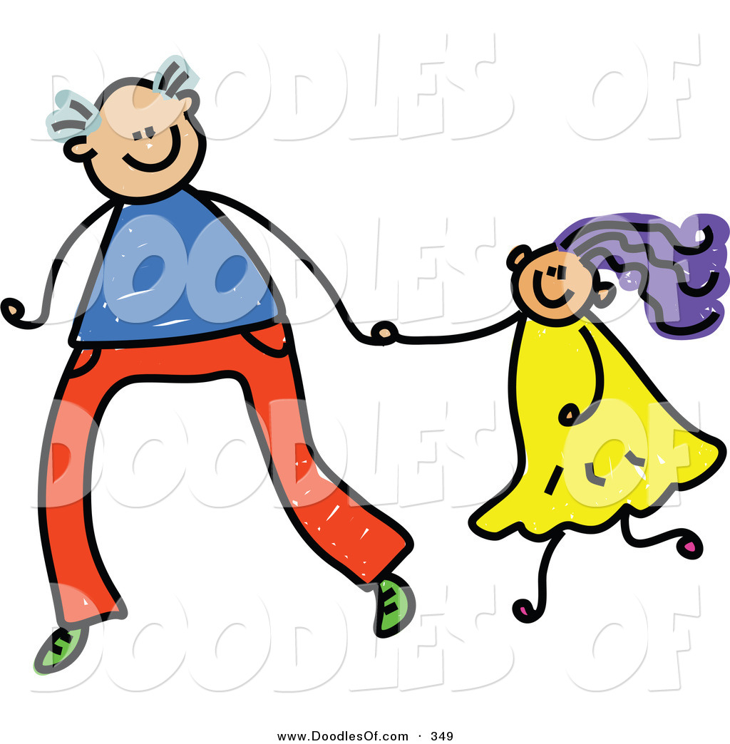 1024x1044 Vector Clipart Of A Childs Sketch Of A Tall Father Holding Hands