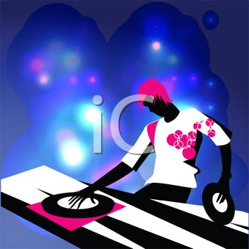 350x350 Royalty Free Clipart Image Guy Playing Records