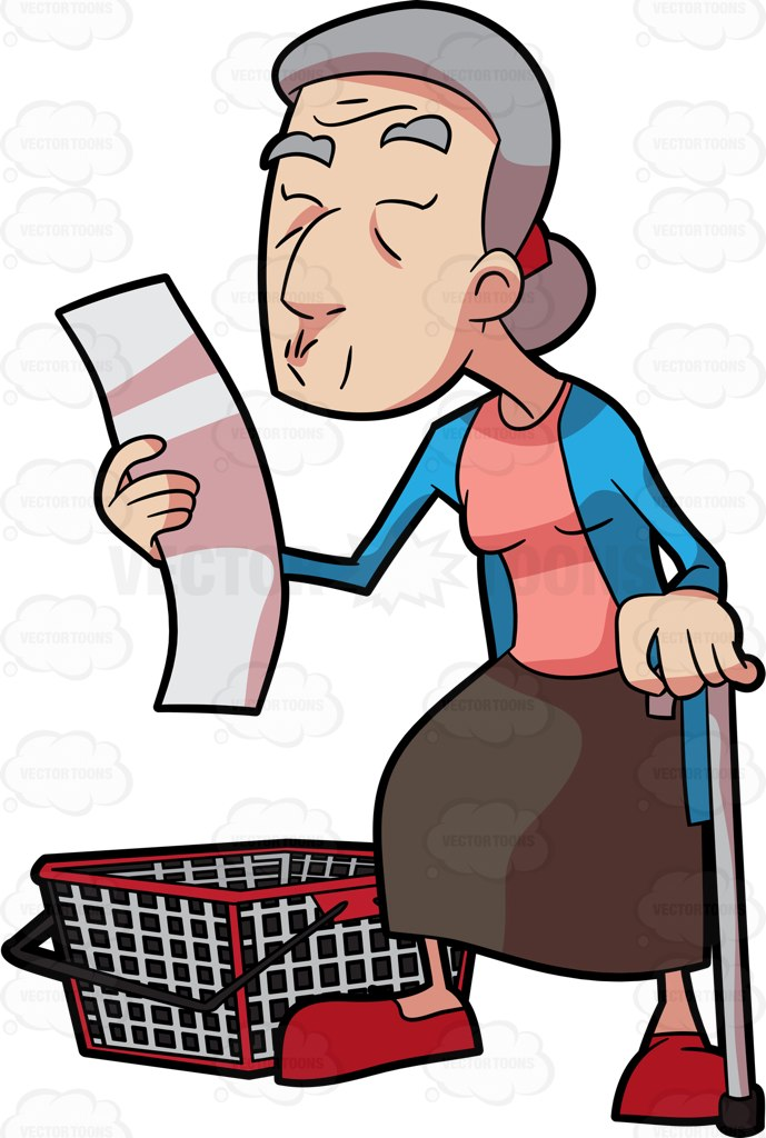689x1024 A Grandma Checking Her Grocery List Cartoon Clipart Vector Toons