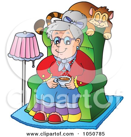 450x470 Clipart Of A Happy Little Red Riding Granny In Bed