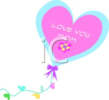 350x322 Whimsical Heart Shaped Kite With Love You Mom Message