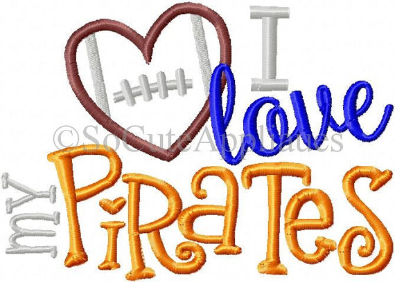 570x408 Pirates Football Embroidery Design 5x7, Love My Pirates