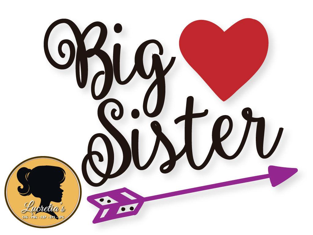 1024x768 Big Sistersister Big Sister Silhouette Dxf Heart Svg Svg