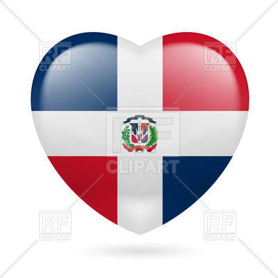 400x400 Heart With Dominican Flag Colors. I Love Dominican Republic