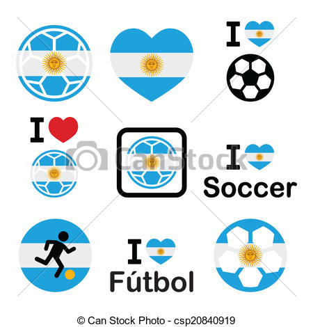 450x470 I Love Argentine Football Icons. Soccer Ball With Flag