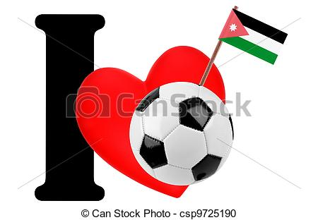 450x312 I Love Soccer Ball. Small Flag On A Red Heart And The Word I