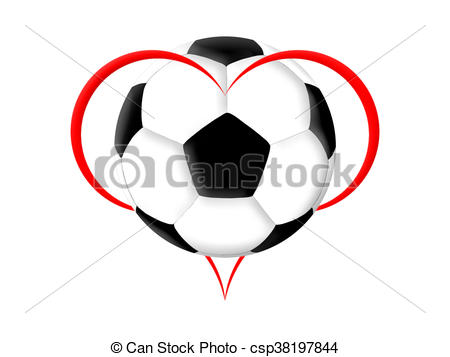 450x357 Soccer Love. Symbol Of The Heart And Soccer Ball On The Drawing