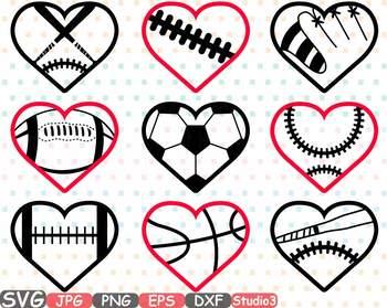 350x279 Sports Heart Balls Clipart Baseball Soccer Basketball Football