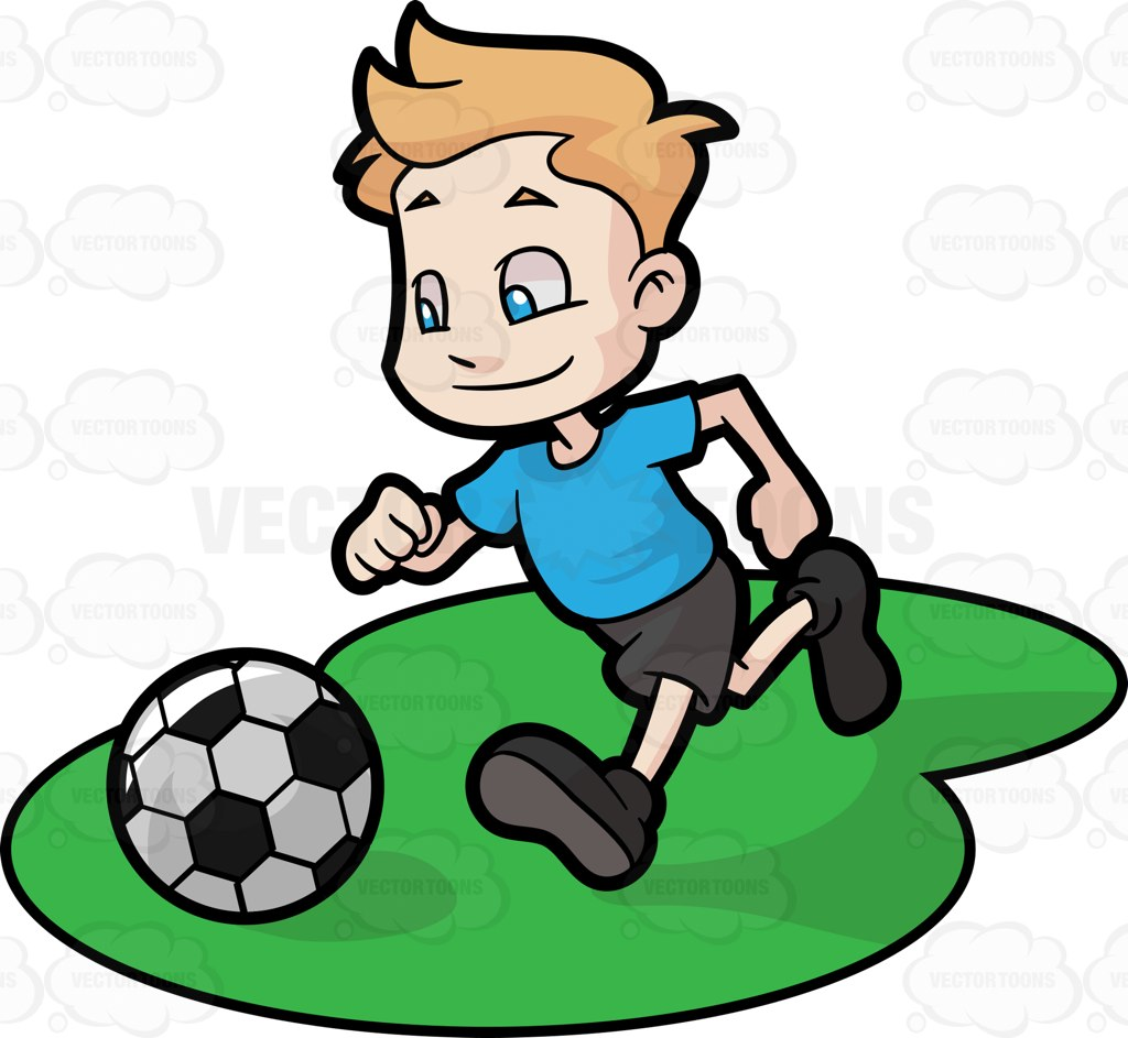 1024x943 A Male Toddler Playing A Game Of Soccer Cartoon Clipart Vector Toons