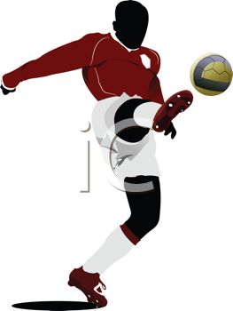 263x350 Black Silhouette Of A Soccer Player Kicking The Ball High