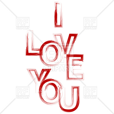 400x400 I Love You Red Text Royalty Free Vector Clip Art Image