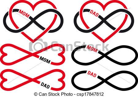 450x317 Love Mom, Dad, Vector Set. Love Mom, Dad, Infinity Hearts