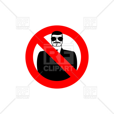 400x400 Stop Spy Sign, Red Forbidden Sign With Serious Man In Sunglasses