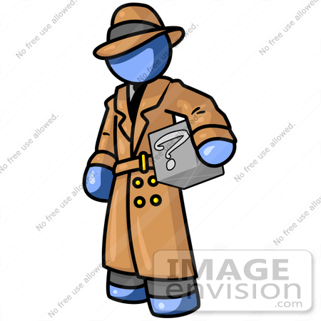 450x450 Clip Art Graphic Of A Blue Guy Character Detective Carrying A Box