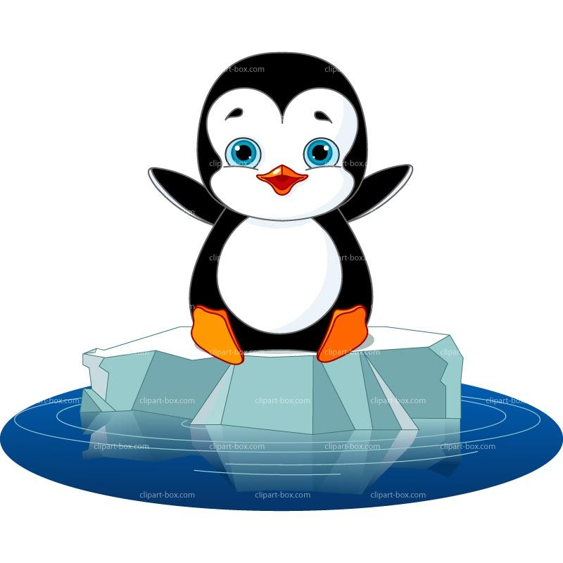 800x800 Penguin On Ice Clip Art Clipart Happy Penguin On Ice Royalty