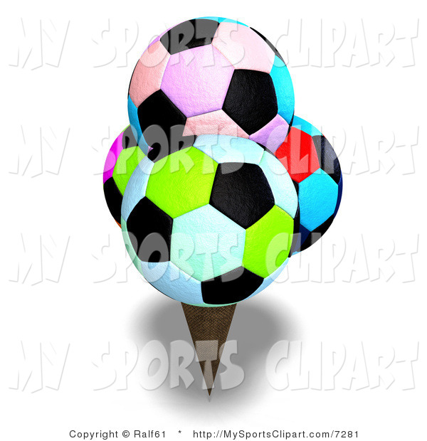 600x620 Sports Clip Art Of A Colorful Soccer Ball Ice Cream By Ralf61