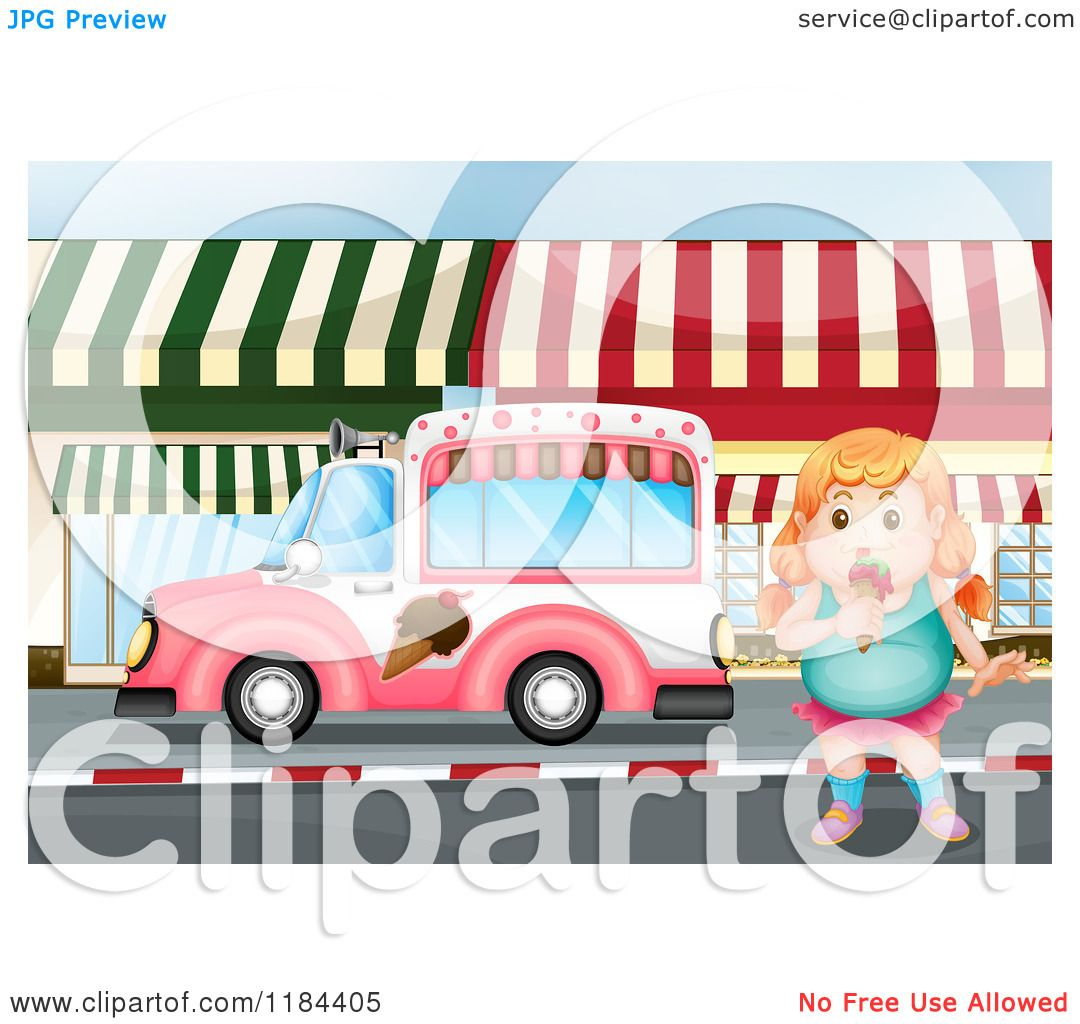 1080x1024 Cartoon Of A Chubby Girl Eating Ice Cream By A Truck
