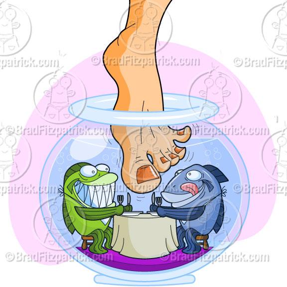 576x576 Garra Fish Pedicure Clip Art Illustration Garra Fish Pedicure
