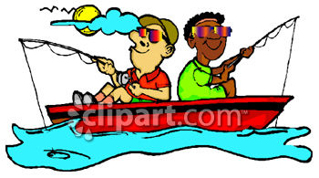 350x195 Racially Diverse Friends Fishing Clipart