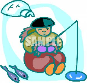 300x288 An Eskimo Child Fishing In The Ice By His Igloo