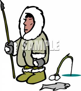 267x300 Royalty Free Clipart Image An Ice Fishing Eskimo With A Spear