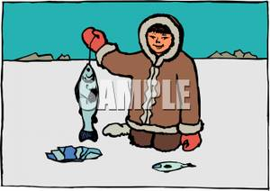 300x212 An Eskimo Ice Fishing Clipart Picture