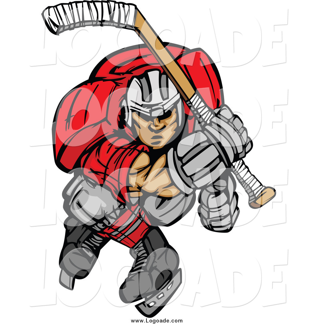 1024x1044 Clipart Of An Aggressive Ice Hockey Player Skating Logo By