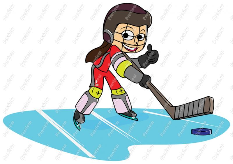 800x563 Girl Ice Hockey Clipart