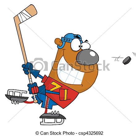 450x439 Grinning Bear Playing Ice Hockey Vector Illustration
