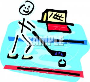 300x273 A Stick Figure Playing Ice Hockey Clip Art Image