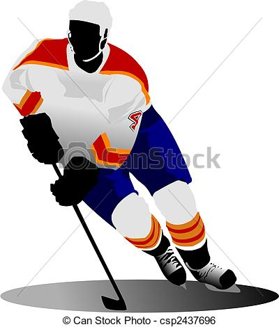 400x470 Ice Hockey Player. Vector Illustration Clip Art Vector
