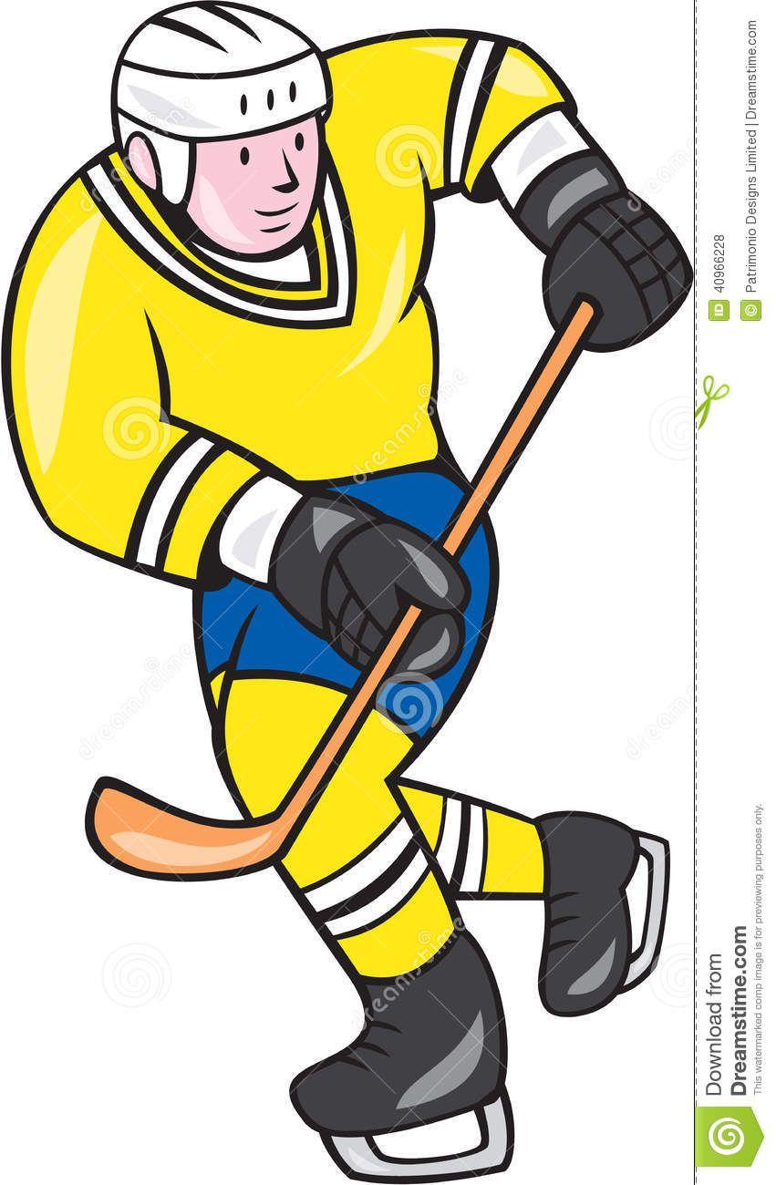 851x1300 Ice Hockey Player Holding Stick Cartoon Illustration Isolated
