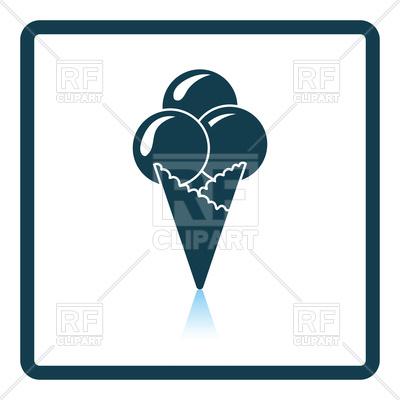 400x400 Shadow Reflection Of Ice Cream Cone Icon Royalty Free Vector Clip