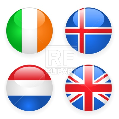400x400 Ireland, Iceland, Great Britain And Netherlands Button Flags