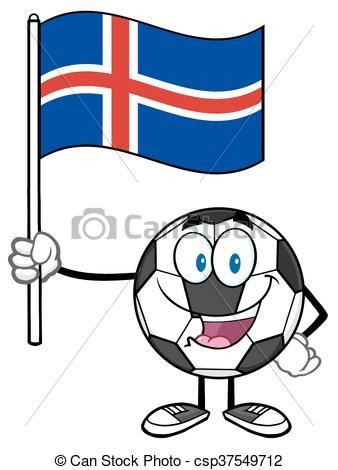 338x470 Ball Holding A Flag Of Iceland. Happy Soccer Ball Cartoon