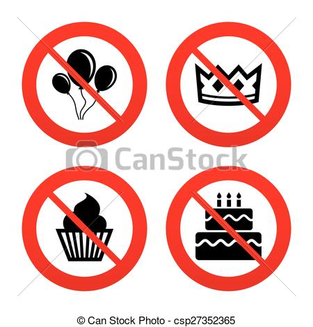 450x470 Birthday Party Icons. Cake And Cupcake Symbol. No, Ban Or Clip