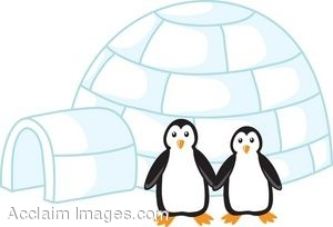 300x204 Clip Art Of Penguins Standing Next To An Igloo